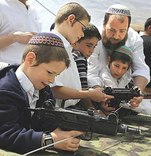 zionist settlers teaching their children how to use guns