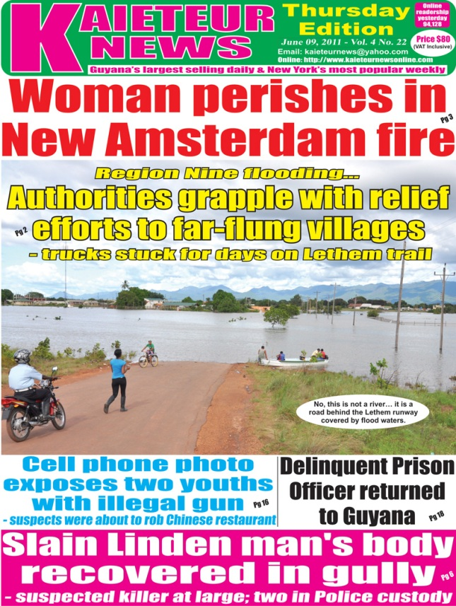 kaieteur news front page of lethem airport flooding