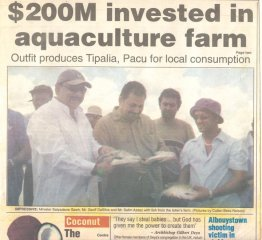 sash sawh geoff dasilva and salim azeez having fun at the tilapia & cocaine farm