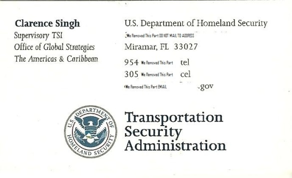 tsa security agent clarence singh business card