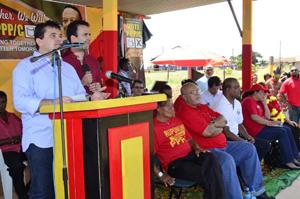 Jose de Anchieta Junior, yucatan reis, bharrat jagdeo, donald ramotar and ppp at campaign rally in lethem. Sunday, 6th November, 2011