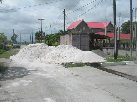 Sand pile completely blocks street at 447 Fordyce Street, Phase 2 Republic Park