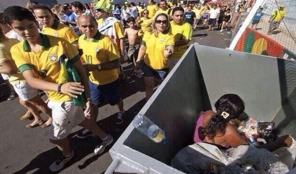 This one world cup image says it all about brazils inequality.