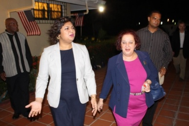 Shortly after bombarding Hardt's US Ambassador to Guyana, the PitBull Priya Manickchand Acting as Foreign Minister, and Presidential Advisor on Governance, AKA Wilkinson Razor Blade Gail Teixeira walked out of the reception that was held at the Ambassador's residence. Manickchand said Hardt's tenure resulted in tensions between the two countries.