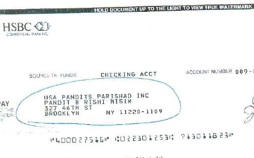 check showing rishi misir receiving usa mandir money