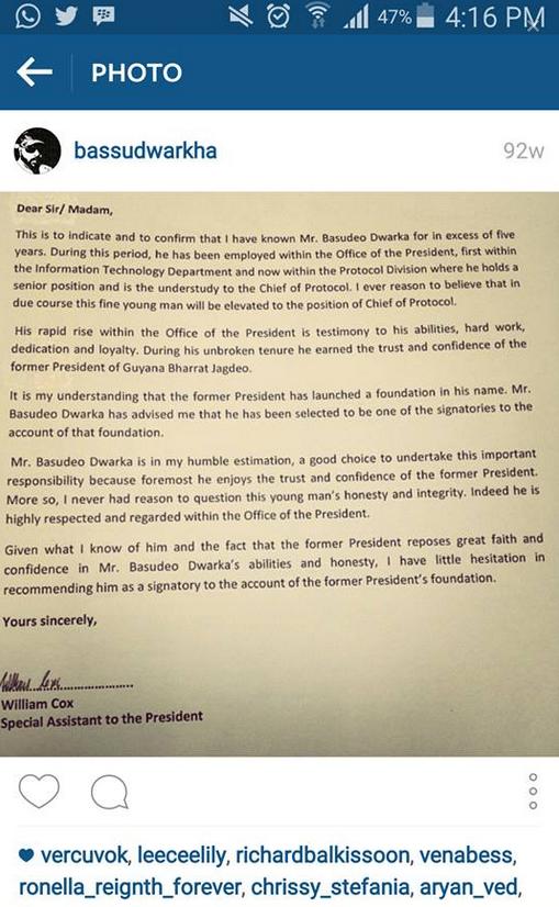 bassu dwarkha jagdeo foundation letter